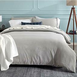 Bedsure Washed Grey Duvet Cover Full/Queen Size Set with Zip