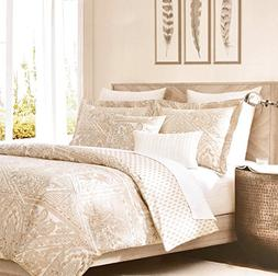 Tahari Home Beige Metallic Silver or Gold Accents Vintage Fr