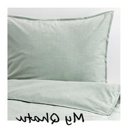 IKEA Bergpalm King Duvet Cover and 2 Pillowcases Green Strip