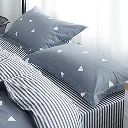 Uozzi Bedding Blue-Gray Triangle 2 Pack Queen Pillowshams fo