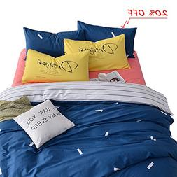 VM VOUGEMARKET Blue Duvet Cover Set King,Navy Duvet Cover wi