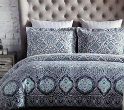 Artisan NY Blue Medallion Full/Queen Duvet Cover + Shams Cot