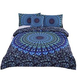 Sleepwish 4 Pcs Mandala Bedding Blue Bohemian Moonlight Bedd