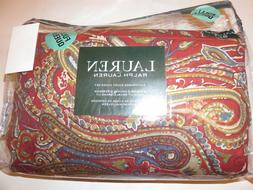 Ralph Lauren Bohemian Paisley 3P Queen Duvet Cover Shams Red