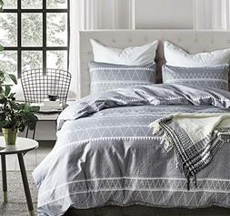 Hyprest Bohemian Queen Duvet Cover Set Lightweight Soft Grey
