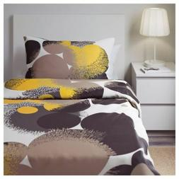 IKEA BOLLTISTEL Twin Duvet Cover and Pillow Set NEW GRAY YEL