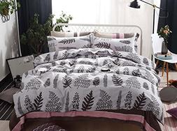 Botanical Duvet Cover Set, Tree Leaves Pattern Printed on Li