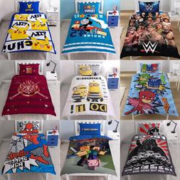 BOYS CHARACTER SINGLE QUILT DUVET COVER & PILLOWCASE BEDDING