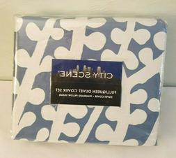 City Scene Branches Collection French Blue Duvet Set, Full/Q