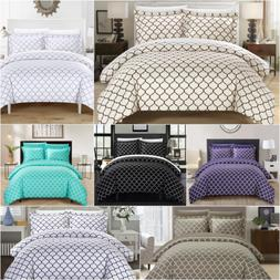 Chic Home Brooklyn 3 Piece Duvet Cover Set Reversible Geomet