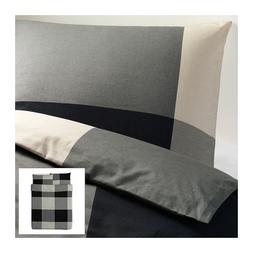 Ikea Brunkrissla Twin Duvet Cover and Pillow Case, Black/gra