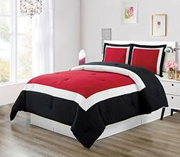 3-Piece BURGUNDY RED / BLACK / WHITE Color Block Duvet Cover