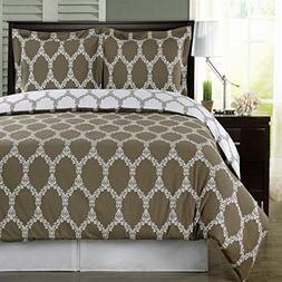California King - Brooksfield- Taupe with White- 3pc Duvet c