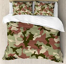 Ambesonne Camo Duvet Cover Set King Size, Illustrated Green