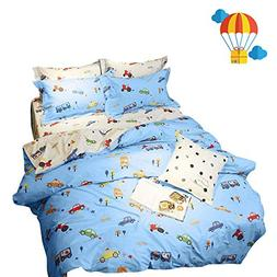 BuLuTu Cartoon Sports Cars Print Boys Duvet Cover Set Twin C