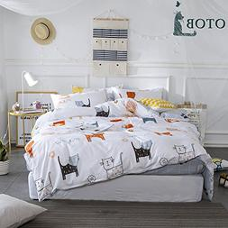 ORoa Cartoon Cat Full Queen Duvet Cover Sets for Kids White