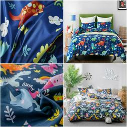 Cartoon Dinosaur Kids Duvet Cover Pillow Sham Reversible Cut