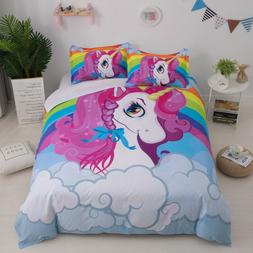 Cartoon Rainbow Unicorn Bedding Set Kids Duvet/Comforter Cov