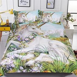NOOS Cartoon Unicorn 3D Duvet Cover Bedding Set Polyester 3P