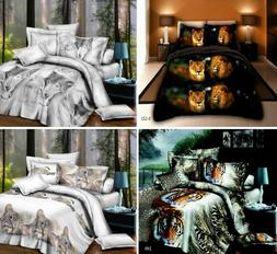 Cat Lion Animal 4 Pieces 3D Effect Image Print Duvet Cover C