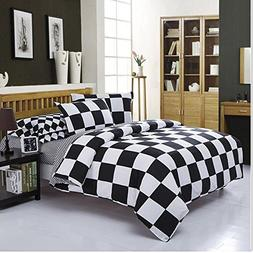 4Piece Checkered Duvet Cover Set Full Bedding Set Black and