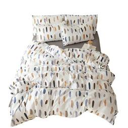 VM VOUGEMARKET Colorful Feather Printed Duvet Cover Set Quee