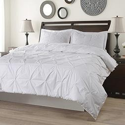 King Linens 100% Cotton Duvet Cover Set Pinch Pleat Pintuck