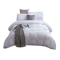 Merryfeel 100% cotton Embroidery Duvet Cover Set- White- Ful
