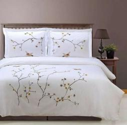 Superior 100% Cotton Percale Embroidered 3-Piece Duvet Cover