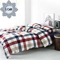MKXI Cotton King Size Bed Duvet Cover Geometric Pattern Red