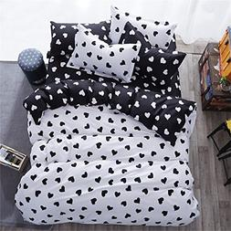 YEVEM Cotton Twin Duvet Cover Set for Kids Teens Love Heart