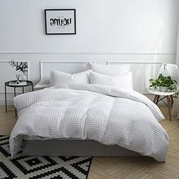 Merryfeel 100% Cotton Waffle Weave Duvet Cover Set - King Wh