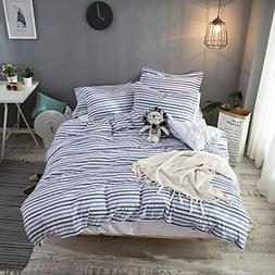 Merryfeel 100% cotton woven Seersucker Stripe Duvet Cover Se