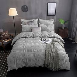 Lausonhouse 100% cotton woven Seersucker Stripe Duvet Cover