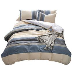 Merryfeel 100% Cotton Yarn Dyed Duvet Cover Set - King Blue