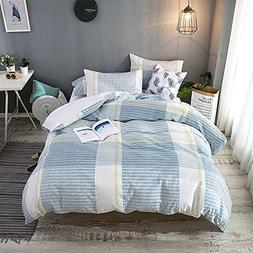 Merryfeel 100% cotton yarn dyed Seersucker Duvet Cover Set -