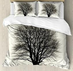 Country Duvet Cover Set with Pillow Shams Branch Tree Field