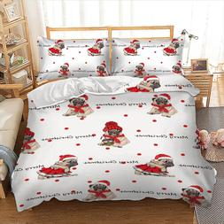 Cute Pug Merry Christmas Bedding <font><b>Set</b></font> <fo