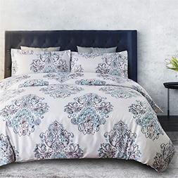 Damask Floral Duvet Cover Set King Size Grey Duvet Cover Zip