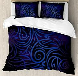 Dark Blue Duvet Cover Set by Ambesonne, Antique Victorian Sw