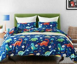 Macohome Dinosaur Kids Duvet Cover Set Queen Size Boys Carto