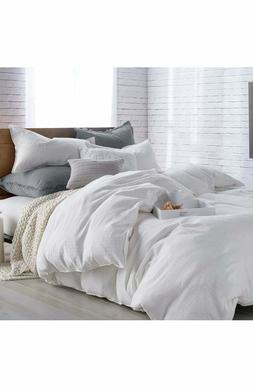 DKNY Pure Comfy White Stripe Cotton FULL / QUEEN Duvet Cover
