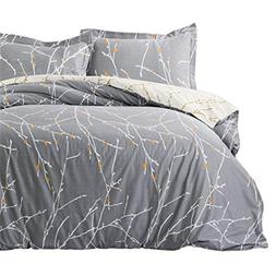 Bedsure Luxury Printed Duvet Cover Set Modern Microfiber wit