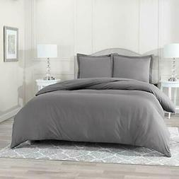 Nestl Bedding 3 Piece Microfiber Duvet Cover Set with 2 Pill