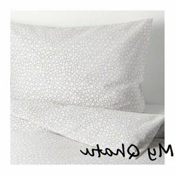 Ikea Duvet Cover and pillowcase White Gray Circles Tradaster