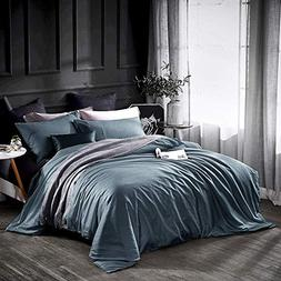 Dazzfond Duvet Cover King, Egyptian Cotton 3 Piece Luxury Be