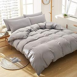 BOBforyou 3 Pieces Duvet Cover King,Stone Washed Yarn Dyed M
