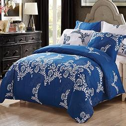 3 Piece Duvet Cover and Pillow Shams Bedding Sets, Reversibl