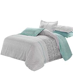 Gray Duvet Cover Set, Reversible with Grey Teal Turquoise, S