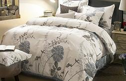 Duvet Cover Set, 100% Cotton Bedding, Botanical Floral Flowe